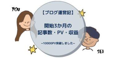 【ブログ運営記】開始3か月の記事数・PV・収益 ~10000PV突破しました~